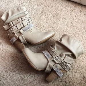 dolce by mojo moxy cream booties with bling